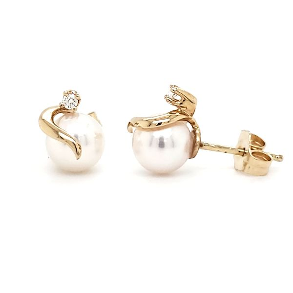 14K Yellow Gold Wrap Pearl & Diamond Stud Earrings Image 3 Quality Gem, LLC Bethel, CT