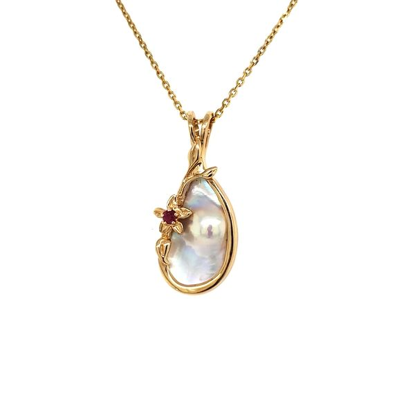 14K Yellow Gold Blister Pearl Pendant Image 3 Quality Gem, LLC Bethel, CT