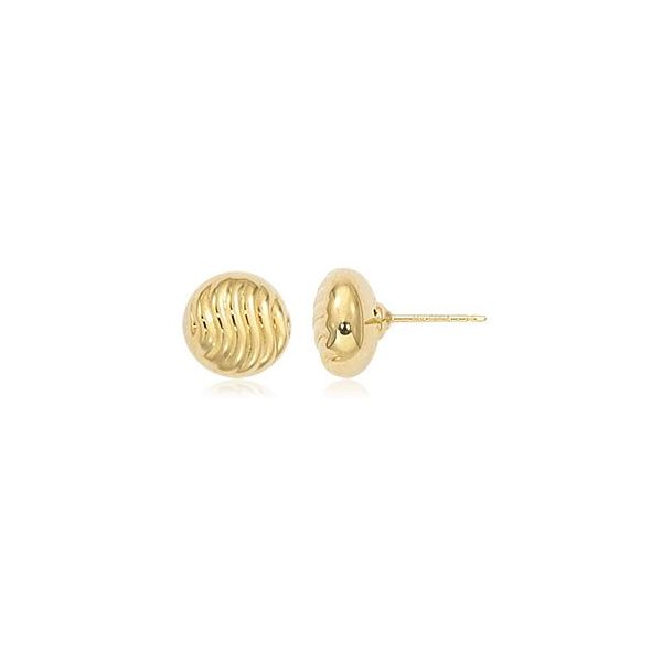 14K Yellow Gold Button Shrimp Stud Earrings Quality Gem LLC Bethel, CT