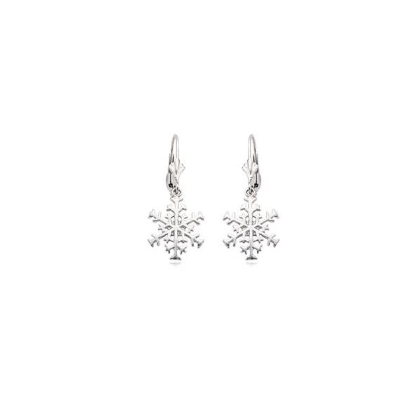 14K White Gold Snowflake Leverback Dangle Earrings Quality Gem, LLC Bethel, CT