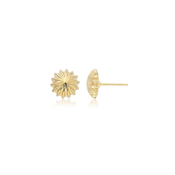 14K Yellow Gold Scallop Button Stud Earrings Quality Gem, LLC Bethel, CT