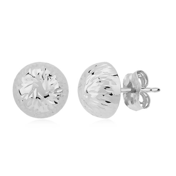 14K White Gold 8mm Bright Cut Button Stud Earrings Quality Gem, LLC Bethel, CT