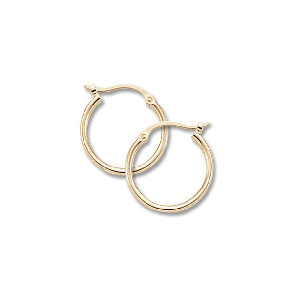 14K Yellow Gold Small Tube Hoop Earrings Quality Gem LLC Bethel, CT