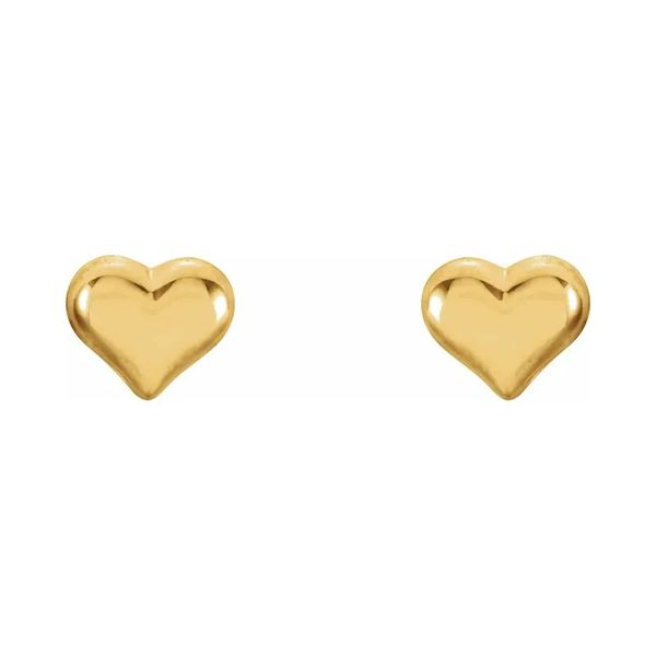 14K Yellow Gold Girls Heart Stud Earrings Quality Gem LLC Bethel, CT