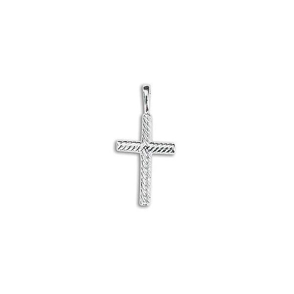 14K White Gold Solid Rope Cross Pendant Quality Gem, LLC Bethel, CT