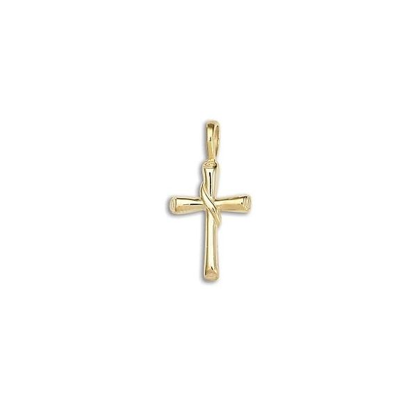 14K Yellow Gold Solid Half Round Flair Cross Pendant Quality Gem, LLC Bethel, CT
