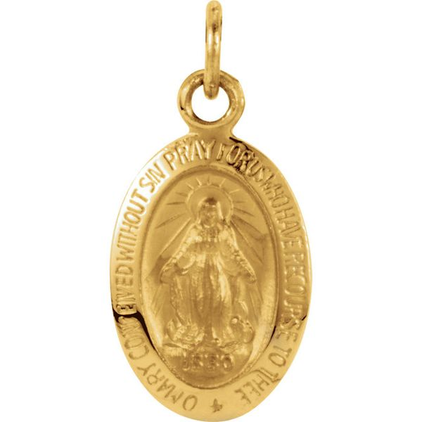 14K Yellow Gold Miraculous Medal Pendant Quality Gem LLC Bethel, CT