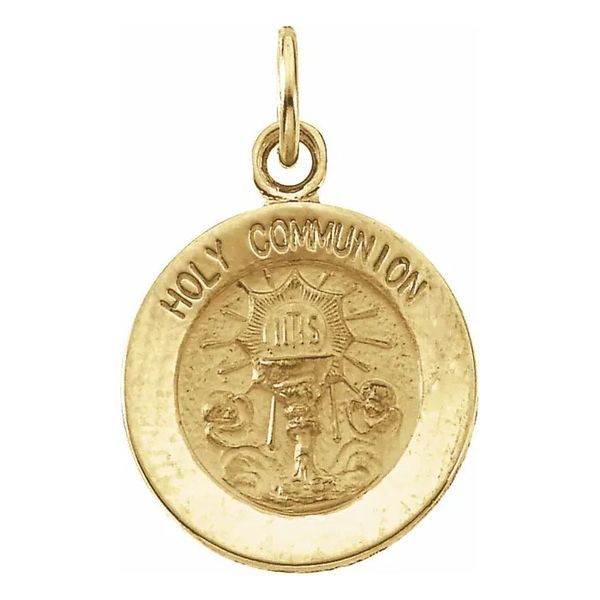 14K Yellow Gold Holy Communion Medal Pendant Quality Gem, LLC Bethel, CT