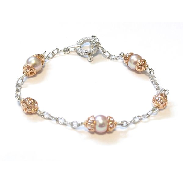 Sterling Silver & Rose Gold Vermeil Pink Pearls Filigree Bracelet Quality Gem, LLC Bethel, CT
