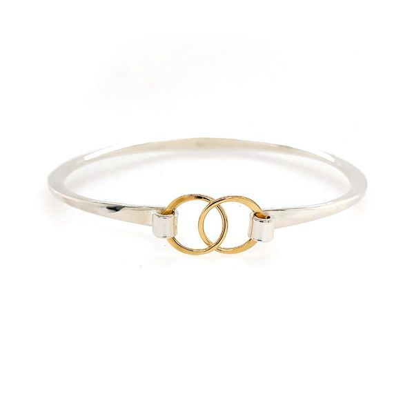 Sterling Silver & 14K Yellow Gold Double Ring Buckle Bracelet Image 2 Quality Gem, LLC Bethel, CT