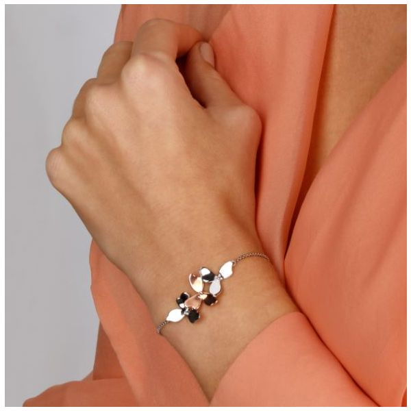 Sterling Silver & 18K Rose Gold Plate Trio Blossom Toggle Bracelet Image 2 Quality Gem LLC Bethel, CT