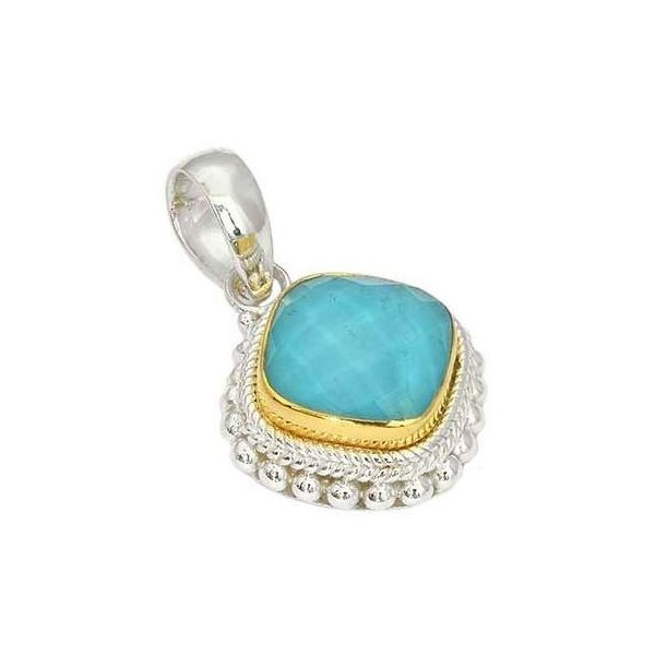 Sterling Silver 18K Gold Vermeil Bali Cushion Shape Faceted Crystal Quartz Over Turquoise Pendant Quality Gem, LLC Bethel, CT