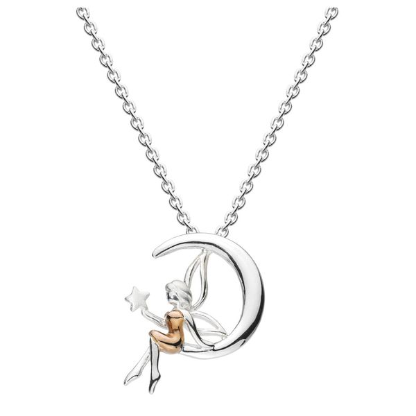 Sterling Silver & 14K Rose Gold Plate Fairy and Moon with Rose Gold Plate detail Pendant Quality Gem, LLC Bethel, CT