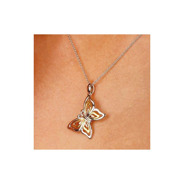 Sterling Silver Blossom Flyte Butterfly Tricolor Necklace Image 2 Quality Gem, LLC Bethel, CT