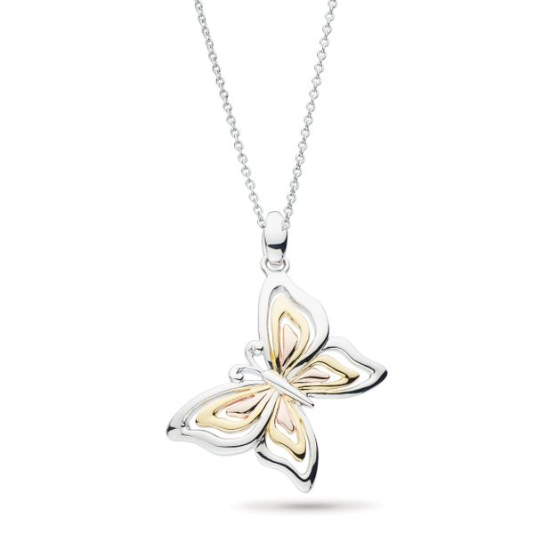 Sterling Silver Blossom Flyte Butterfly Tricolor Necklace Quality Gem, LLC Bethel, CT