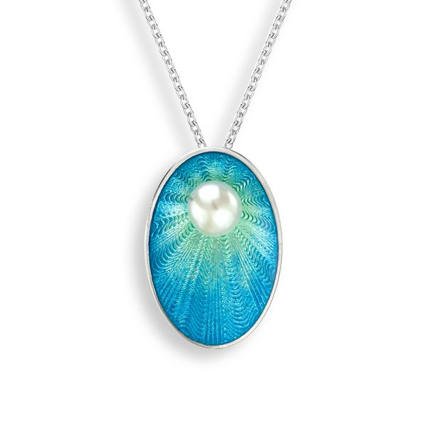 Sterling Silver Blue Green Enamel & Pearl Pendant Quality Gem, LLC Bethel, CT