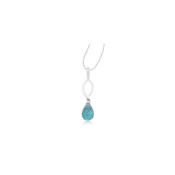 Sterling Silver Simple Sweep Blue Topaz Briolette Dangle Necklace Quality Gem, LLC Bethel, CT