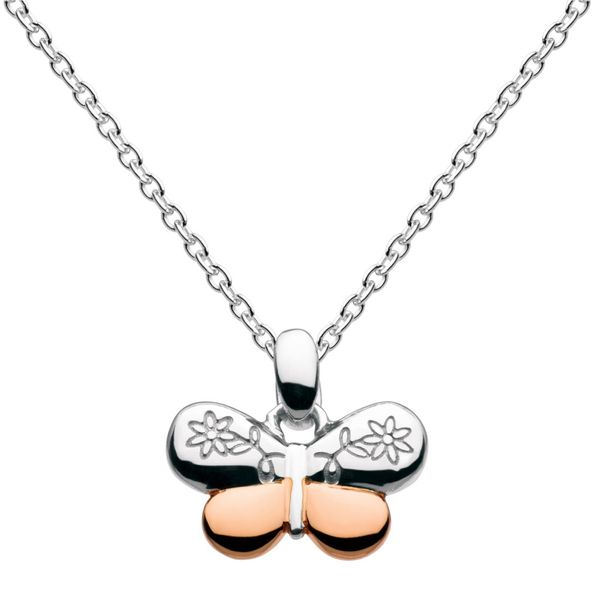 Sterling Silver & Rose Gold Plate Girls Vintage Butterfly Necklace Quality Gem, LLC Bethel, CT