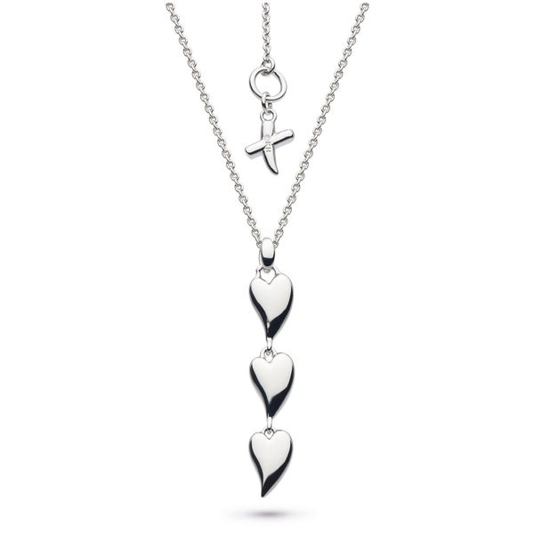 Sterling Silver Desire Kiss Rhodium Plate Triple Hearts Necklace Quality Gem LLC Bethel, CT