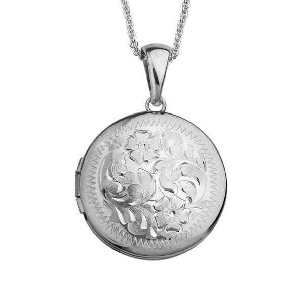 Sterling Silver Round Engraved Locket Pendant Quality Gem LLC Bethel, CT