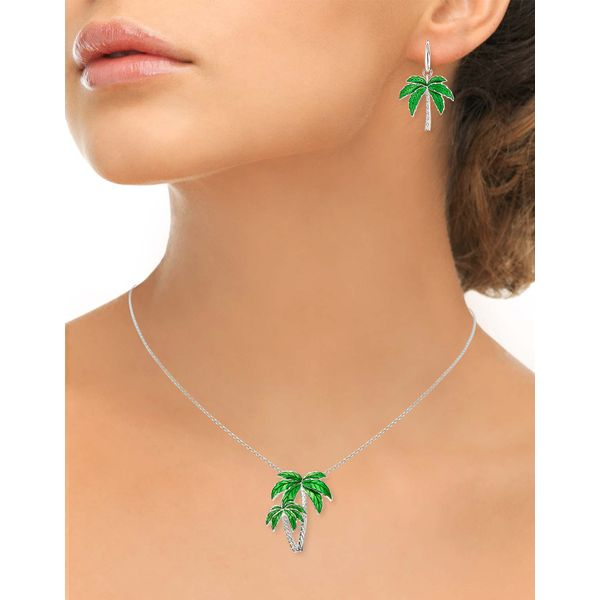 Sterling Silver Green Enamel Palm Tree Pendant Image 2 Quality Gem LLC Bethel, CT