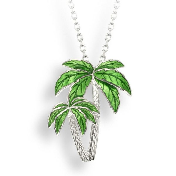 Sterling Silver Green Enamel Palm Tree Pendant Quality Gem LLC Bethel, CT
