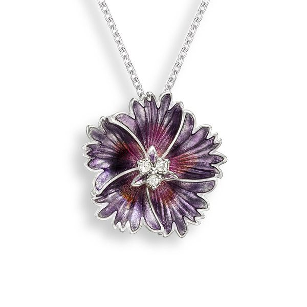 Sterling Silver Purple Enamel Flower Pendant Quality Gem LLC Bethel, CT