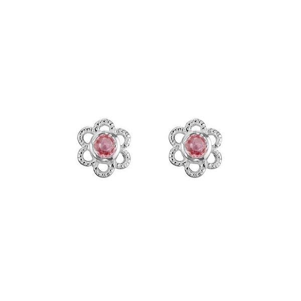Sterling Silver Pink Tourmaline October Mini Flower Stud Earrings Quality Gem, LLC Bethel, CT