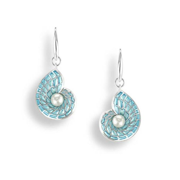 Sterling Silver Blue Enamel Nautilus Shell & Freshwater Pearl Dangle Earrings Quality Gem, LLC Bethel, CT