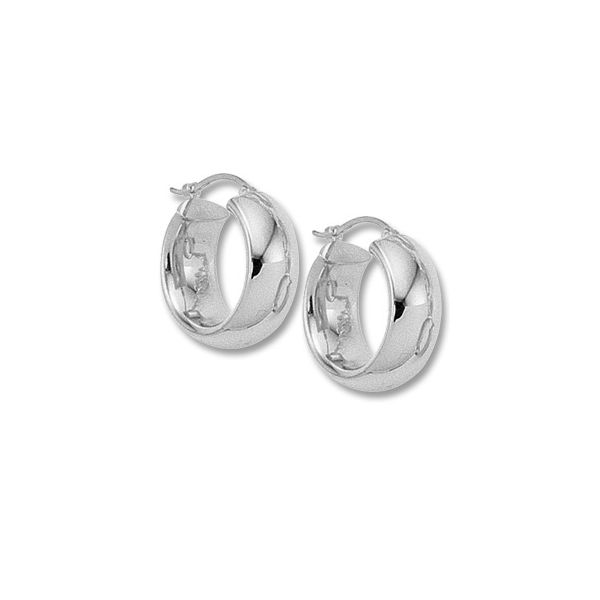 Sterling Silver Wide Hoop Earrings Image 2 Quality Gem LLC Bethel, CT