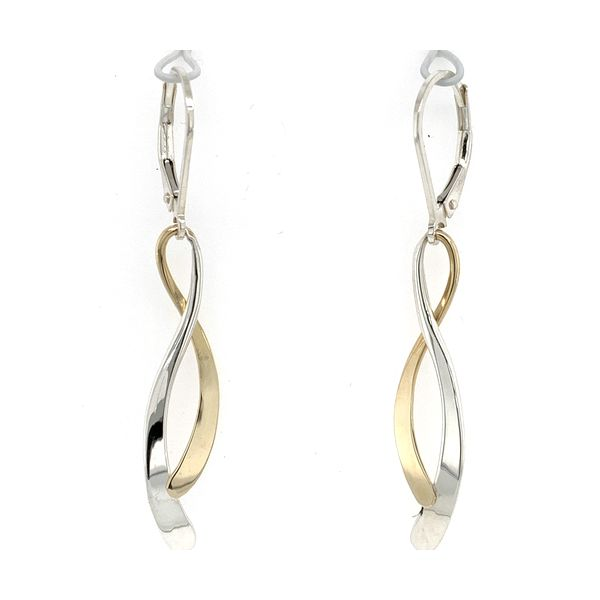 Sterling Silver & 14K Yellow Gold Dancing Water Leverback Earrings Image 2 Quality Gem, LLC Bethel, CT