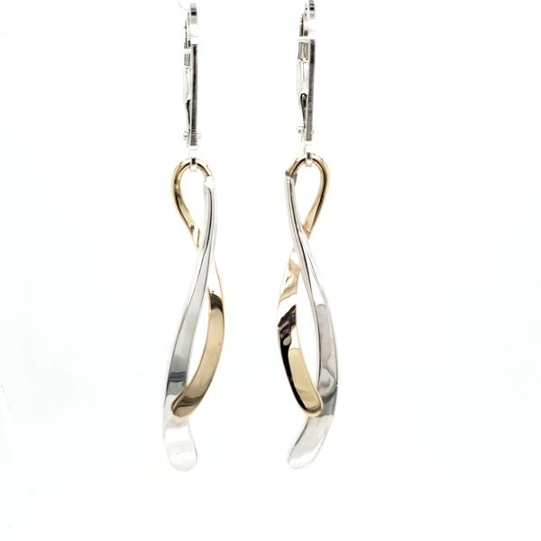 Sterling Silver & 14K Yellow Gold Dancing Water Leverback Earrings Quality Gem, LLC Bethel, CT