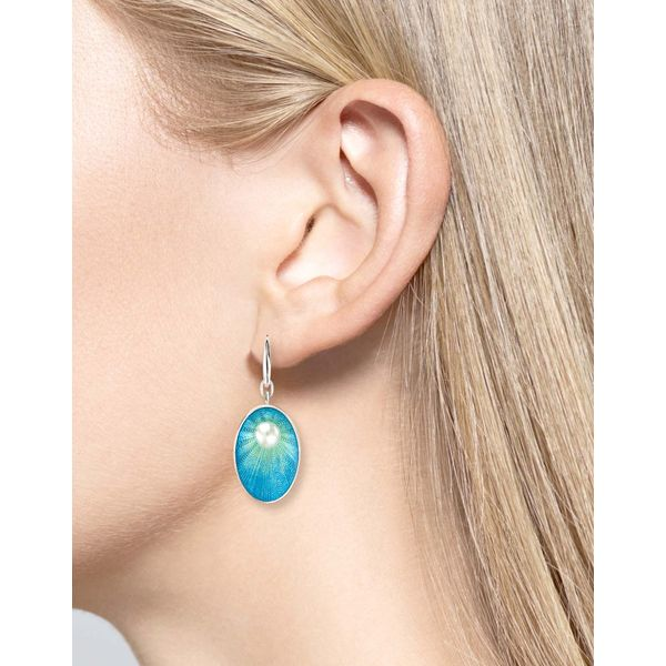 Sterling Silver Blue Enamel & Pearl Dangle Earrings Image 2 Quality Gem, LLC Bethel, CT