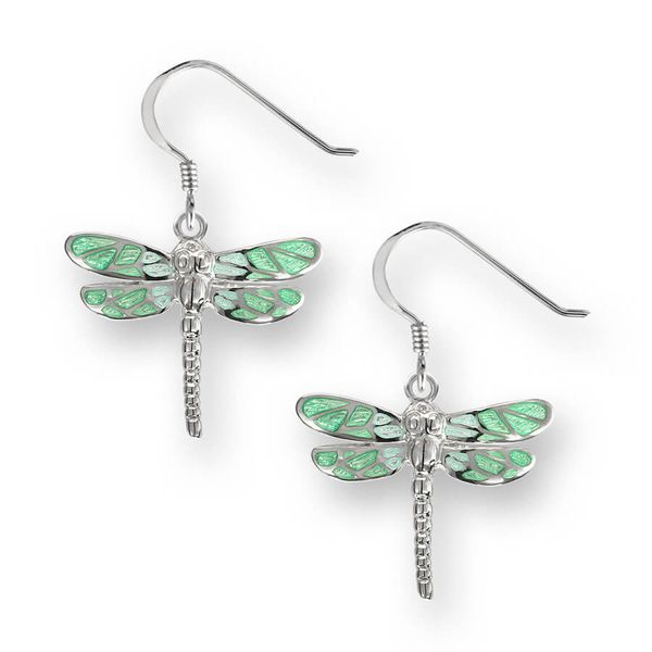 Sterling Silver Green Enamel Dragonfly Dangle Earrings Quality Gem, LLC Bethel, CT