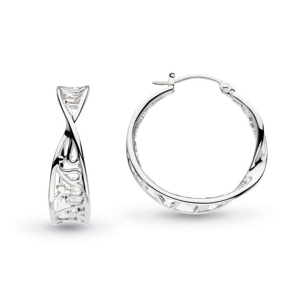 Sterling Silver Blossom Flourish Large Hoop Earrings Quality Gem, LLC Bethel, CT