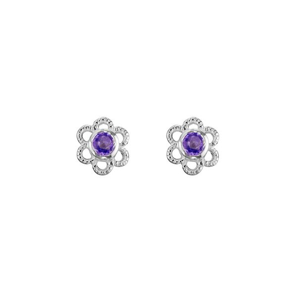 Sterling Silver Amethyst February Mini Flower Stud Earrings Quality Gem, LLC Bethel, CT