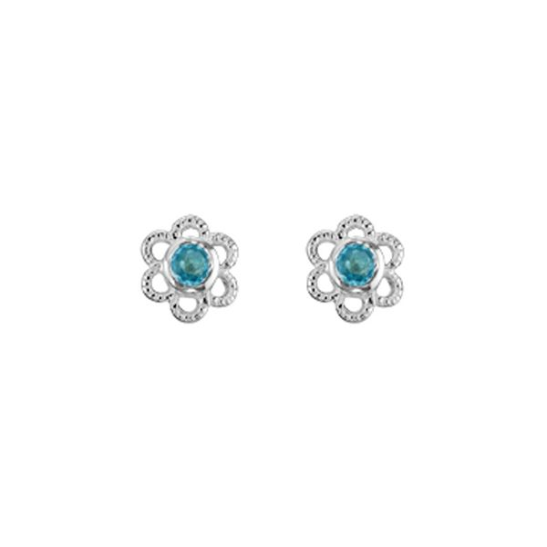 Sterling Silver Blue Topaz December Mini Flower Stud Earrings Quality Gem, LLC Bethel, CT