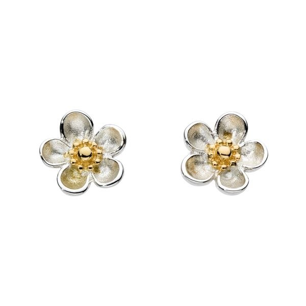 Sterling Silver & 18K Yellow Gold Plate Blossom Stud Earrings Quality Gem, LLC Bethel, CT