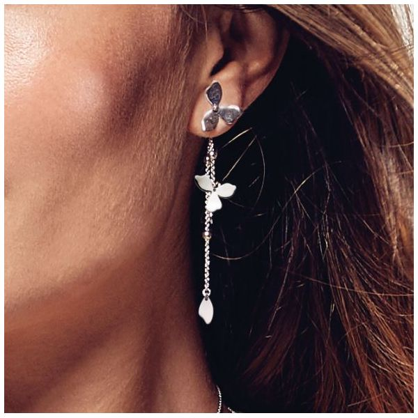 Sterling Silver Blossom Petal Bloom Interchangeable Drop Earrings Image 2 Quality Gem, LLC Bethel, CT