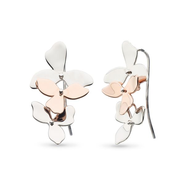 Sterling Silver Blossom Petal Bloom Trio Rose Gold Plate Drop Earrings Quality Gem, LLC Bethel, CT