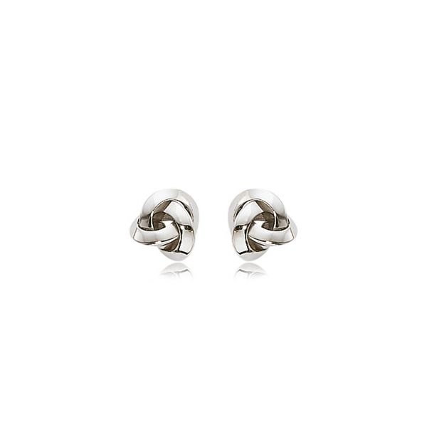 Sterling Silver Polish Knot Stud Earrings Image 2 Quality Gem LLC Bethel, CT