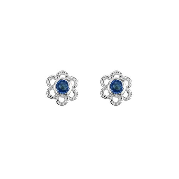 Sterling Silver Created Blue Sapphire September Mini Flower Stud Earrings Quality Gem LLC Bethel, CT