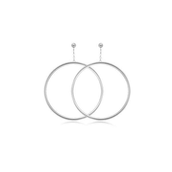 Sterling Silver Circle Hoop Dangle Earrings Quality Gem LLC Bethel, CT