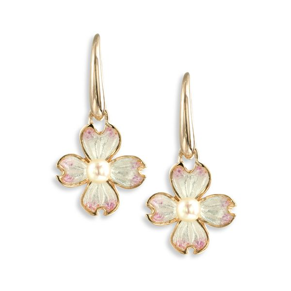 Rose Gold Plated Sterling Silver Dogwood & Pearl Dangle Earrings Quality Gem LLC Bethel, CT