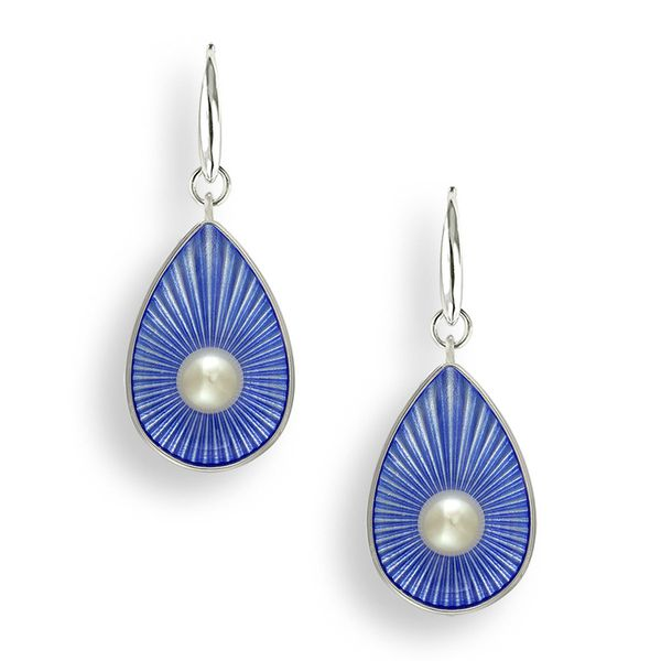 Sterling Silver Blue Enamel & Pearl Dangle Earrings Quality Gem LLC Bethel, CT