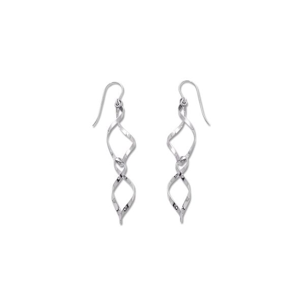 Sterling Silver Double Spiral Drop Earrings Image 2 Quality Gem LLC Bethel, CT