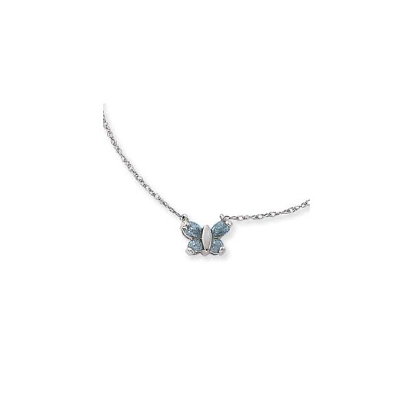 Sterling Silver Blue Topaz Butterfly Necklace Quality Gem, LLC Bethel, CT