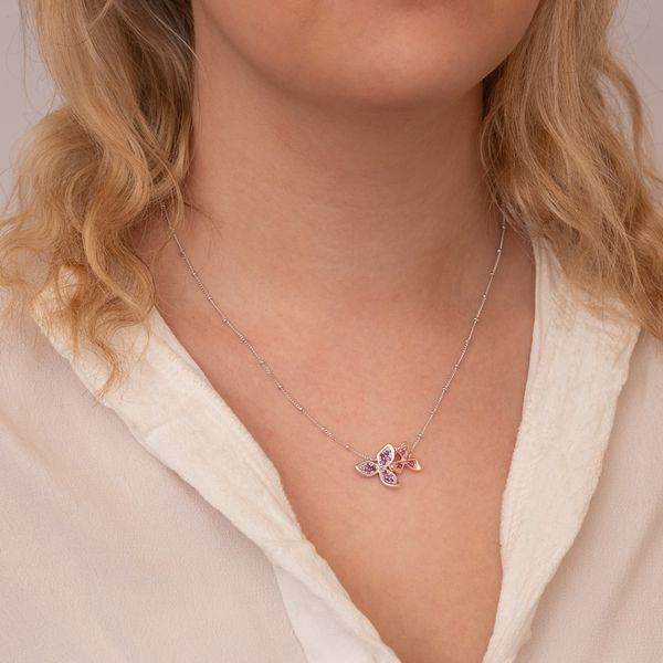 Sterling Silver & Rose Gold Plate Double Flower Necklace Image 2 Quality Gem LLC Bethel, CT