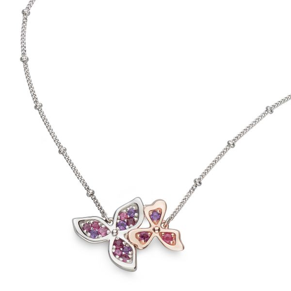 Sterling Silver & Rose Gold Plate Double Flower Necklace Quality Gem LLC Bethel, CT