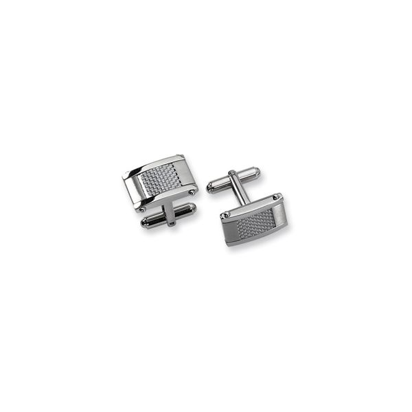 Stainless Steel Brushed & Polished Grey Carbon Fiber Inlay Cufflinks Image 2 Quality Gem, LLC Bethel, CT